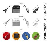 electric guitar  loudspeaker ... | Shutterstock .eps vector #1130834123