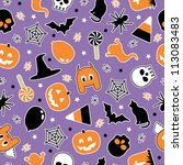 seamless halloween decoration... | Shutterstock .eps vector #113083483