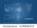 outline drawing of motorcycle.... | Shutterstock . vector #1130846513