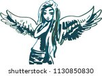 blue ink drawing of an angel | Shutterstock .eps vector #1130850830