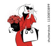 Stock vector beautiful girl in red coat in black sunglasses with bouquet of roses peonies and bag women s 1130853899