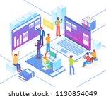 modern isometric smart office... | Shutterstock .eps vector #1130854049