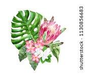 bouquet of watercolor tropical... | Shutterstock . vector #1130856683
