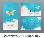 vector travel tri fold brochure ... | Shutterstock .eps vector #1130866889