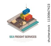 sea freight services isometric... | Shutterstock .eps vector #1130867423