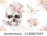 Human Watercolor Skull With...