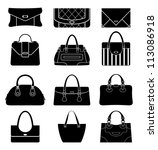 black icons female bags. vector