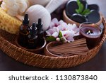 spa setting with hibiscus... | Shutterstock . vector #1130873840