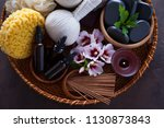 spa setting with hibiscus... | Shutterstock . vector #1130873843