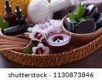 spa setting with hibiscus... | Shutterstock . vector #1130873846