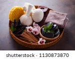 spa setting with hibiscus... | Shutterstock . vector #1130873870