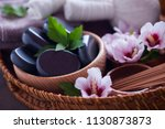 spa setting with hibiscus... | Shutterstock . vector #1130873873