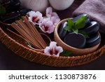 spa setting with hibiscus... | Shutterstock . vector #1130873876