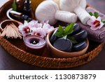 spa setting with hibiscus... | Shutterstock . vector #1130873879