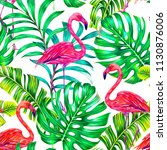 tropical floral summer seamless ... | Shutterstock . vector #1130876006
