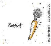 carrot in doodle style. raw... | Shutterstock .eps vector #1130881220