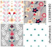set of 4 floral seamless... | Shutterstock .eps vector #1130889680