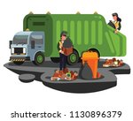 illustration of garbage truck | Shutterstock .eps vector #1130896379