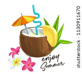 pina colada cocktail in coconut ... | Shutterstock .eps vector #1130911670