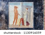 ancient fresco of hercules on a ... | Shutterstock . vector #1130916059