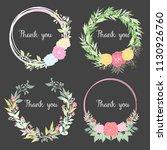 floral wreath sketch background ... | Shutterstock .eps vector #1130926760