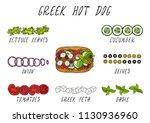 greek hot dog ingredients... | Shutterstock .eps vector #1130936960