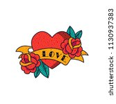 heart  rose flowers  ribbon and ... | Shutterstock .eps vector #1130937383