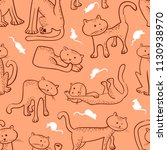 seamless pattern with doodle... | Shutterstock .eps vector #1130938970