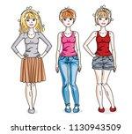 attractive young adult girls... | Shutterstock .eps vector #1130943509