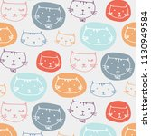 hand drawn cute cats pattern... | Shutterstock .eps vector #1130949584
