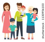 a spouse with their three... | Shutterstock .eps vector #1130956103