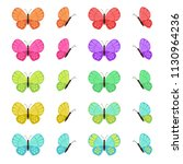 colored butterflies isolated on ... | Shutterstock .eps vector #1130964236