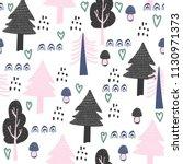 seamless wood pattern. trees... | Shutterstock .eps vector #1130971373
