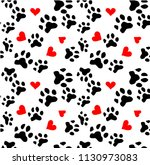 dog paw cat paw heart love... | Shutterstock .eps vector #1130973083