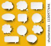retro speech bubble with yellow ... | Shutterstock .eps vector #1130977646