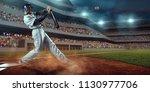 baseball player bat the ball on ...   Shutterstock . vector #1130977706