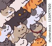 seamless cat pattern. cartoon...   Shutterstock .eps vector #1130977820