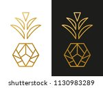 modern golden pineapple shape | Shutterstock .eps vector #1130983289