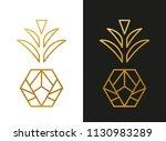 modern golden pineapple shape | Shutterstock .eps vector #1130983289