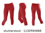 slim red women's knitted woolen ... | Shutterstock . vector #1130984888