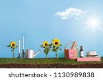 summer garden with picnic... | Shutterstock . vector #1130989838