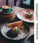 dessert tart served with ice... | Shutterstock . vector #1130993633