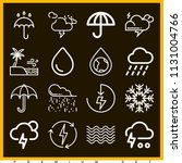 set of 16 weather outline icons ... | Shutterstock .eps vector #1131004766