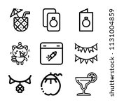 set of 9 party outline icons...   Shutterstock .eps vector #1131004859