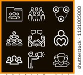 set of 9 group outline icons...   Shutterstock .eps vector #1131005000
