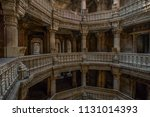 Small photo of 20-oct-2007 Inner view of Adalaj Ni Vav (Stepwell) or Rudabai Stepwell. Built in 1498 by Rana Veer Singh is intricately carved and is five stories deep . Ahmedabad, Gujarat, India.