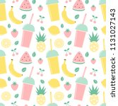 Stock vector cute summer seamless vector pattern background illustration with smoothies and fresh fruits 1131027143