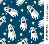print with flying ghosts and... | Shutterstock .eps vector #1131036623