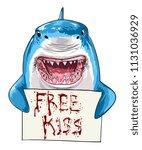 shark holding bloody free kiss... | Shutterstock .eps vector #1131036929