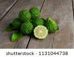fresh bergamot fruit on wooden...   Shutterstock . vector #1131044738